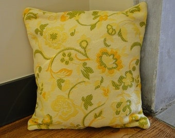 Yellow and Green Floral Vintage Fabric 16 x16 Pillow Cover