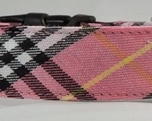 Dog Collar - Dog,  Martingale or Cat Collar  -  All Sizes -  Pink, Black, White and Yellow Tartan Plaid