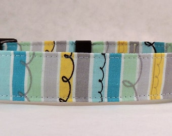 Dog Collar, Martingale Collar, Cat Collar - All Sizes - Turquoise Stripes