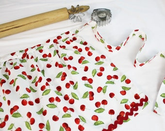 Cherries on White Ruffled Adult Apron