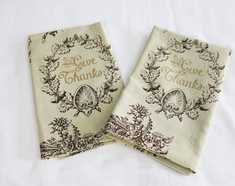 Give Thanks Thanksgiving Cloth Napkins - Double Sided, Thick and Large - set of 2