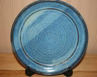 Blue pottery plate, handmade serving dish