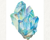 "Aquamarine 1 -  5"" x 7"" Watercolor Art Print #0006"
