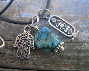 CHARM NECKLACE turquoise nugget Egyption anhk hamsa hand leather cord