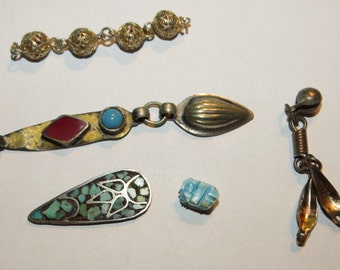 Vintage Metal and Stone Misc Middle Eastern Jewelry Findings or Parts to Create