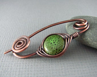 Shawl Pin Copper Brooch Wire Wrapped Shawl Pin Green Brooch Scarf or Sweater Pin Fibula Wire Wrapped Jewelry Copper Pin