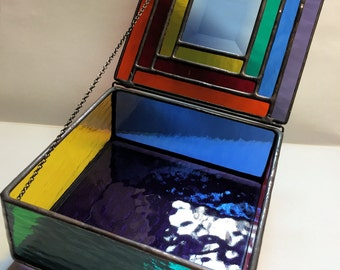 Contemporary Stained Glass Jewelry Box - Colorful Geometric Bevel (PLG060)