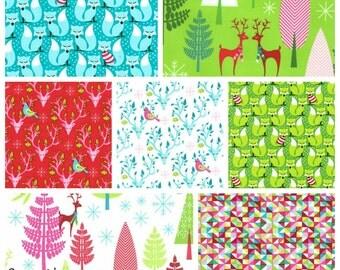 LAST ONE Christmas Bundle Fat Quarter Half Yard and Yards Michael Miller Fabrics Deer Woodland Holidays Red Green Pink Aqua Blue Fox Bucks