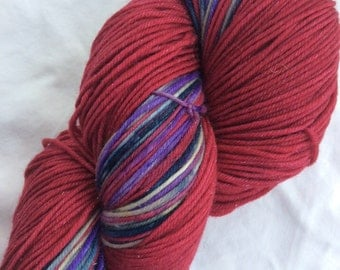 New lines - ColorPlay & Yarn Pairings, Hand-dyed Hand-Painted, Red, Purple, Tan, 70/25/5 SW Merino Silk Stellina, 462 total yds, DK weight