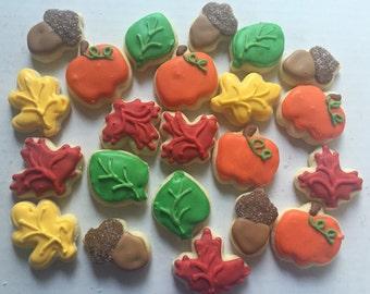 Fall / Halloween  MINI Cookies - fall cookies - pumpkin cookies - Thanksgiving - Halloween - decorated cookies - autumn cookies - cookies