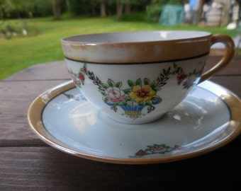 Vintage 1950s to 1960s Lusterware White Beige Flowers Yellow/Pink/Orange Japan Tea Cup and Saucer