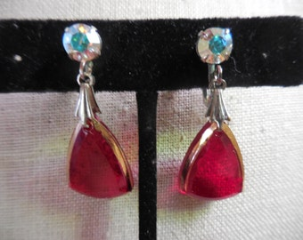 Vintage 1960s to 1970s Silver Tone Red Glass/Gold Accents Drop Screw Back Earrings Non Pierced Small Dangles Iridescent Pronged Rhinestones