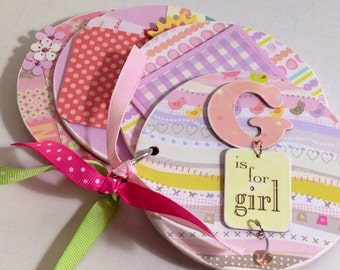 Baby Girl scrapbook Brag Book Premade pages chipboard Mini Scrapbook Album- Baby Shower- G is for girl