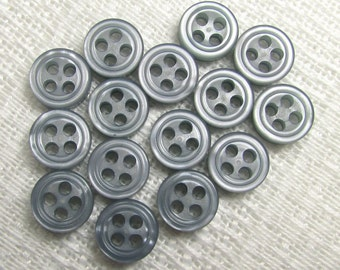 """Slate Blue: 5/16"""" (8mm) Shirt Buttons - Set of 15 New / Unused Matching Buttons"""