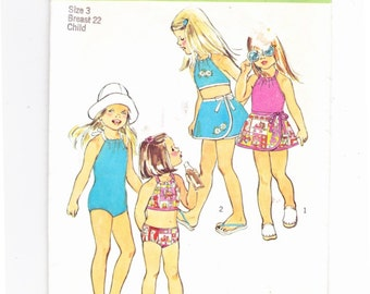 Simplicity 6422  Sz 3 Toddlers Bathing Suit, Bikini and Wrap Skirt Chest 22