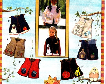 Simplicity 7366 Sz 2 3 4 Child Halloween, Christmas, Easter and School Vest Uncut Pattern