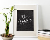 Bon Appetit Print, Inspirational Art Quote, French Quote, Typographic Art Print, French Art Print, French Quote Art Poster, Kitchen Print