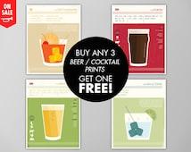 Cocktail Posters Buy 3 Get 1 Free, Cocktail Print Sale, BOGO Sale, Cocktail Art Prints, Cocktail Posters, Bar Art, Beer Cocktail Print Set