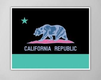California Flag, California State Flag, California Flag Art Print, California Flag With Inverted Colors Art Print, California Flag Poster