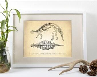Ankylosaurus Dinosaur Art Print, Dinosaur Art Print, Dinosaur Natural History Poster, Natural History Dinosaur Print, Dinosaur Poster, Print