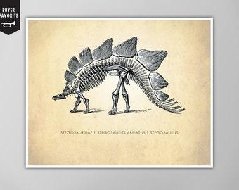Stegosaurus Dinosaur Art Print, Stegosaurus Natural History Poster, Natural History Dinosaur Print, Dinosaur Stegosaurus Poster, Dinosaurs