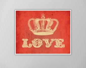 Love Crown Art Print, Love Art, Illustration Love Crown Typography Art Print, Art Crown Love, Crown of Love, Love Art Print, Love Art Print