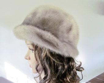 Fantastic Retro Vintage 1950s-60s GENUINE MINK FUR Hat Silver-Grey Canada