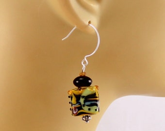 Black earrings, yellow lampwork earrings, hypoallergenic earrings, sensitive ears, lampwork earrings, earrings, ooak gift for her