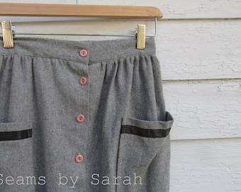 Grey Wool Gathered skirt//25'' waist