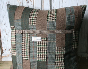 Patchwork Pillow Cover - Recycled Green, Brown Tweed, Wool 20 Inch - FREE SHIPPING