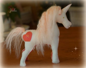 Large Waldorf Steiner Magical Felt Unicorn Toy made by DebsSteinerDolls. Made and ready to ship