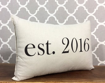 Personalized Established Date Accent Pillow, Personalized Wedding Gift, Housewarming Gift, Est. Date Pillow, Personalized Gift