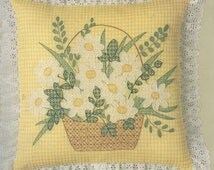 80s Daisy Basket Pillow Kit 60102 by Candamar Designs UnOpened Gingham Chicken Scratch Embroidery Kit