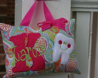 Tooth Fairy Pillow for Girls Personalized - Paisley - Tooth Chart - Birthday Gift - Keepsake - Baby Gift - Personalized Item