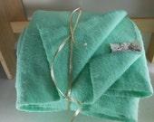 "Vintage FARIBO Blanket Fluff Loom Seafoam Wool 75""X86"""