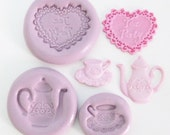 Tea party 3 Mini Molds #1263 - silicone flexible mold, craft mold, porcelain mold, jewelry mold, food mold, pop up mold, mould, molde