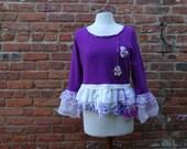 Boho Sweater,Cottage Chic Sweater,Upcycled Sweater,Eco Sweater,Romantic Sweater,by Nine Muses Of Crete
