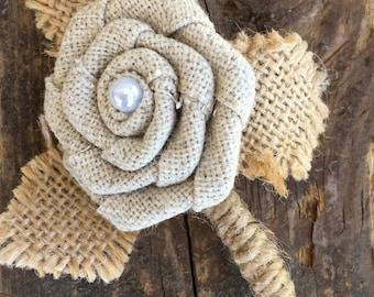 Burlap Flower Boutonniere