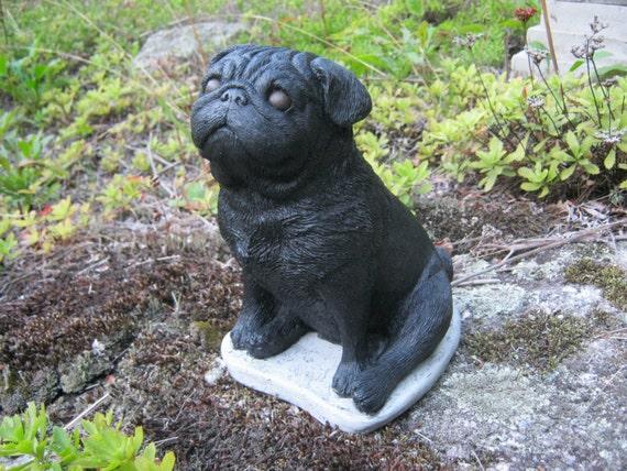 Pug Statue, Concrete Black Pug, Cement Dog Figure, Cast Stone Pugs For Home  Or Garden, Pet Memorial, Dog Statue, Garden Statues, Cement.
