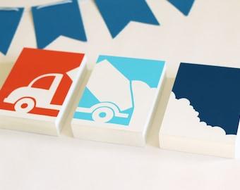Dump Truck Nursery Art - Set of 3 Wood Panels