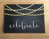 Celebrate Chalk Art Card - Blank 5x7 Greeting Card with Envelope