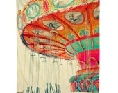 Tapestry Wall Art. Carnival Swings Photo. Nursery Decor. Children's Room Art. Large Wall Hanging.  Bright. Colorful. Orange yellow Pink aqua