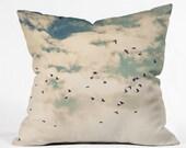 Decorative Throw Pillow. Birds in the Sky. Flying Birds. Nature. Cloudy Sky. Blue and White. Cream. Living Room Decor. Bird Pillow