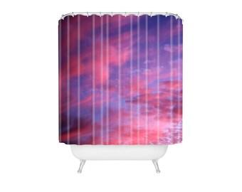 Shower Curtain. Bathroom Art.  Sunset Shower Curtain. Sky. Clouds. Dreamy. Colorful Bathroom Decor. Purple. Pink. Blue. Dorm Decor.