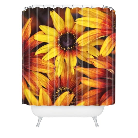Items Similar To Floral Shower Curtain Bathroom Decor Orange And Yellow Flo