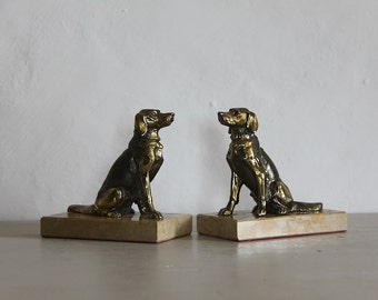 French Vintage Book Ends Dogs on a Marble Base