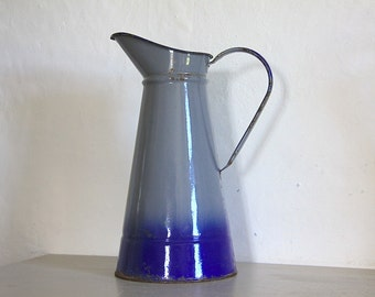 Antique French Enamel Pitcher/ Jug Blue and Gray