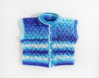 Knitted Baby Vest - Blue and White , 0 - 6 month