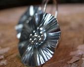 Sterling Silver Flower Earrings, ruffled flower dangle earrings in sterling silver