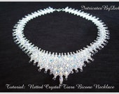 Bead Pattern Netted Crystal Bicone Tiara Necklace Tutorial - Jewelry Beading, Beadweaving Instructions, PDF, Do It Yourself, How To
